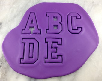 College Alphabet Cookie Cutter Set - SHARP EDGES - FAST Shipping - Choose Your Own Size!