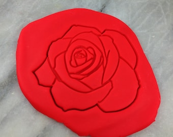 Rose Cookie Cutter 2-Piece, Outline & Stamp - SHARP EDGES - FAST Shipping - Choose Your Own Size!