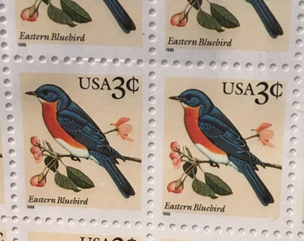 198 U.S. Number 3033 3 cent Eastern Bluebird 1996 Flora and Fauna Series Quantity of 198 Stamp Collecting State Bird Multicolored