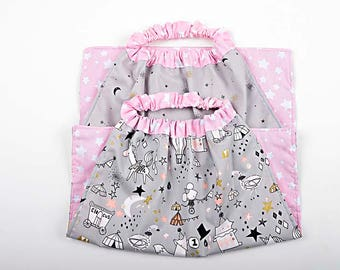 """SET of 2 NAPKINS elastic, 2 towels canteen cotton """"Mouse and unicorns to the Circus on Star background"""""""