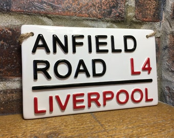 LIVERPOOL-Anfield Road-Football Sign-London Street Sign-Football Gift-Football Fan-Football Team-kids Room Decor-You'll Never Walk Alone