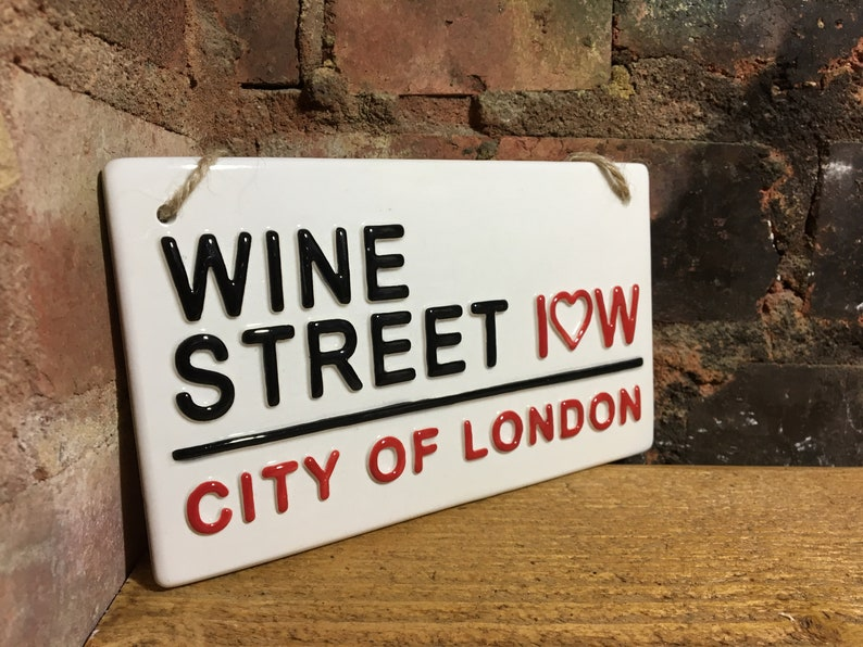 WINE STREET Funny Gifts London Street Sign Red Wine White
