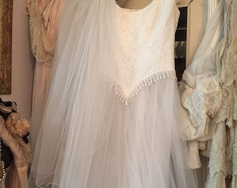 Vintage French Wedding Gown And Veil
