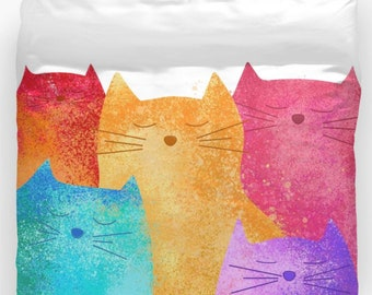 Colorful Cats Duvet Cover Or Comforter Personalized Art Twin Full King Queen Bedding Boy Girl Gift For Toddler Kids Adults Birthday Cute