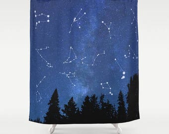 Space Shower Curtain Galaxy Blue Curtains Sky Fantasy Forest Stars Zodiac Nebula Pattern Kids Women Men