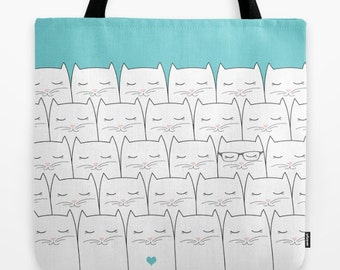 a9c091a9283e Cats Tote bag Personalized - Small medium large - Kitten Pets Cute Gift for  her Market Beach Shopping Nursery Birthday Printed Canvas Cool
