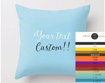 Personalized Solid Color Pillow Decorative Custom Small Medium Long Cushion  Lumbar or standard Own Text Quote Modern Home Urban Gift Women 00263e217a