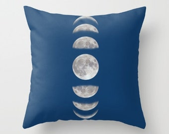 Moon phases Throw pillow personalized - small medium large Modern Cabin  Gift for her him Universe Galaxy Birthday Women Bed Spiritual Accent 99bdd14e63