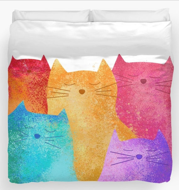 Colorful Cats Duvet Cover Or Comforter Personalized Art Twin