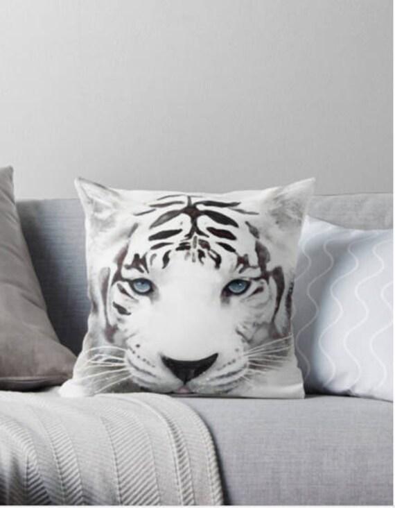 Cojines Decorativos De Tigre Blanco Originales Regalo Para Etsy