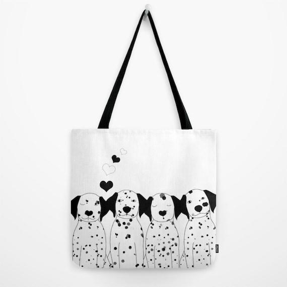 Fjhufe Portrait-of-dalmatian-dog-on-black-backgroundcanvas Bag Cute,useful,unisex,stylish,good Quality