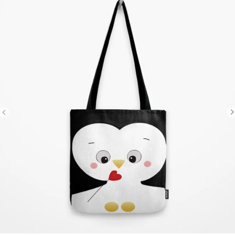 Penguin Tote Bag or duffle bag Custom Canvas School Gift for her birthday Nursery Grocery overnight womens weekend Carry on bag boy girl