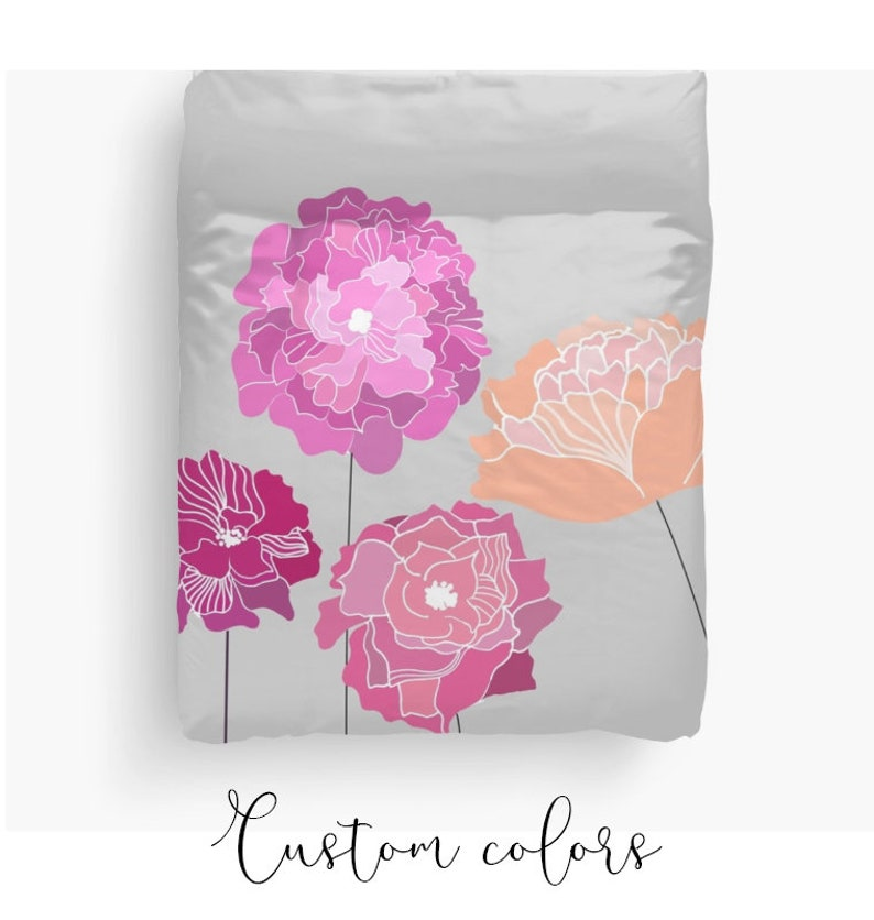 Pink Peonies Floral Duvet Cover or Comforter Peony Bedroom | Etsy