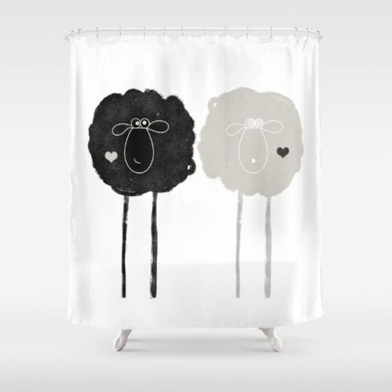 Sheep Shower Curtains Yin Yang Black And White Bath Decor Love
