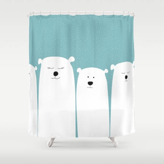 Polar Bear Shower Curtain Personalized Background Snow Kids