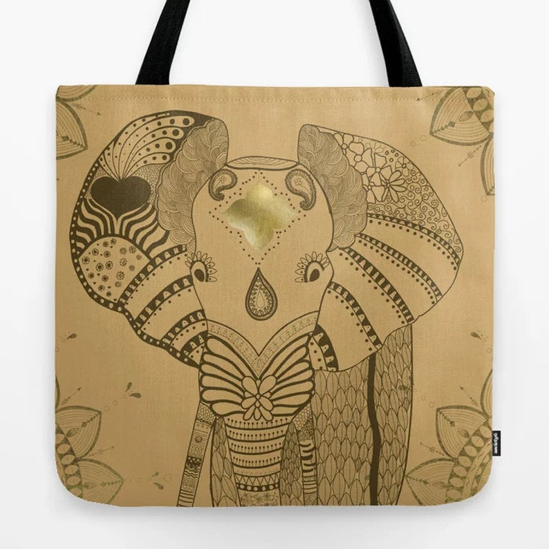 Elephant Tote Bag Animal Personalized Illustration Doodle Gift Ideas for mom Girlfriend Birthday Wild Travel Yoga Beach Women Grocery Cute