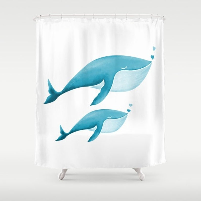Whales Shower Curtain Personalized Nautical Bath Bathroom
