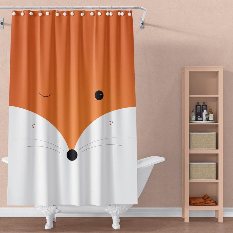 Fox Shower Curtains Animal Nature Tangerine Bath Unique