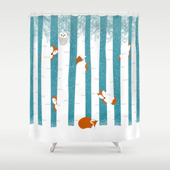 Fox Shower Curtain Personalized Animals Snow Trees Bathroom