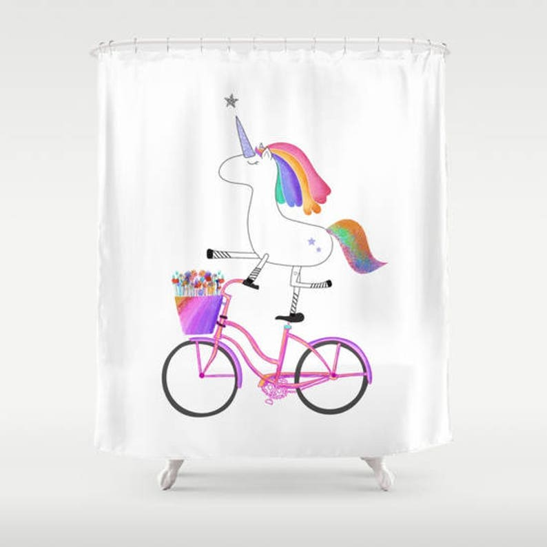 Unicorn Shower Curtains Fantasy Rainbow With Bicycle Horses