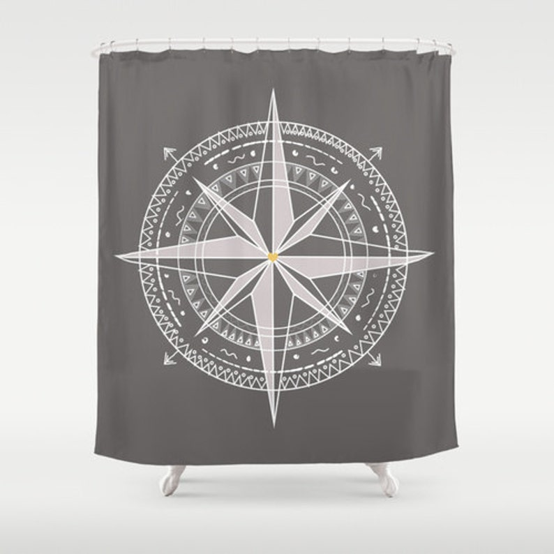 Compass Shower Curtain Nautical Personalized Color Coastal Etsy