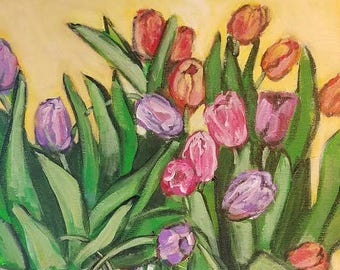 tulips, table, still life, lace, doilie