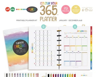 2018 Printable Planner Inserts > A5 + Half Letter | Monday Start | Dated | PDF + PNG : Colour Your 365 Planner Kit (jes0546)