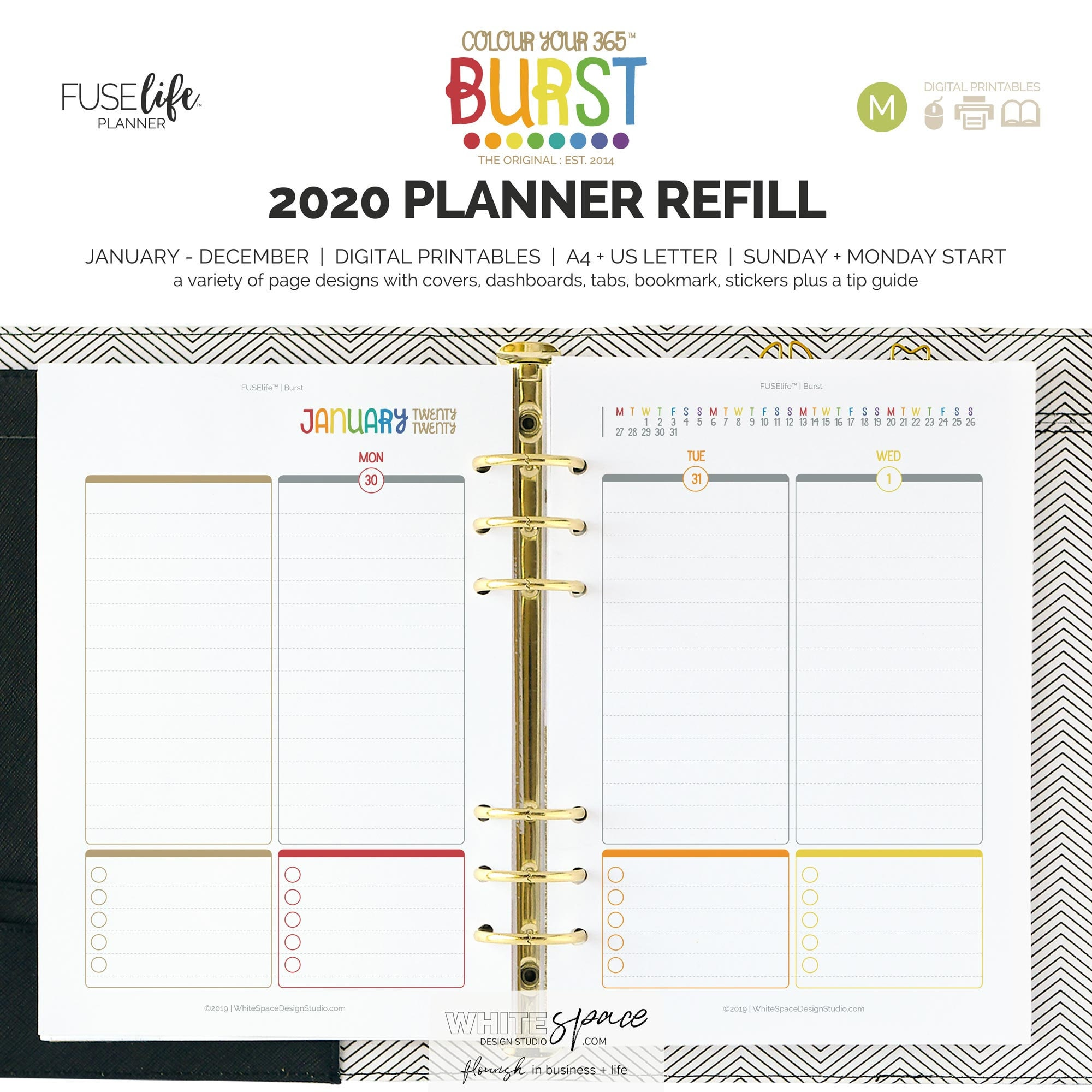 2020 BURST Refill Pack : medium (half letter + A5) digital printable PDF  planner inserts - year, month, weekly planner insert pages (WS0765)