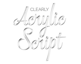Clear Acrylic Script: Digital Scrapbooking Alpha
