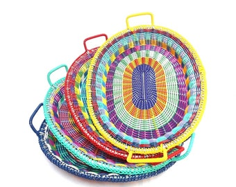 oval handwoven multicolor tray with handles