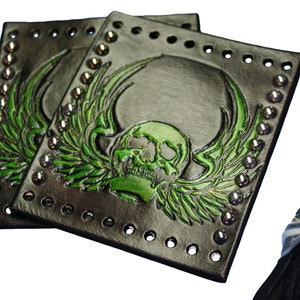Heavy Duty Brown Leather Motorcycle Grip Covers Embossed Winged Skull for Hd Motorcycles