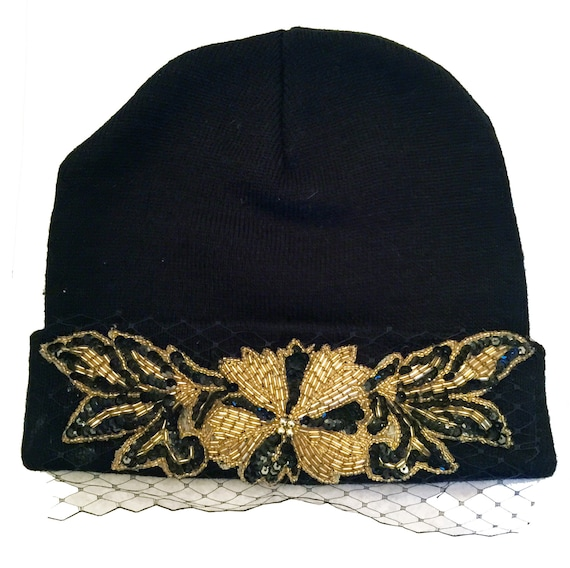 2dba8f9a3c1 Embellished Knit Beanie  Skull Cap with Birdcage Veil