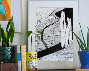 Canyon de Chelly pen and ink illustration Arizona landscape black and white wall decorate print southwest nature drawing