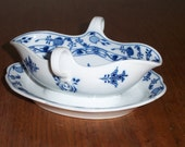 Meissen Blue Onion China Gravy or Sauce Boat with attached Under plate and 2 Handles Meissen mark hand painted cobalt blue on white
