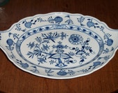 Rare Meissen Blue Onion China Platter Serving Dish with upturned shell handles Crossed Swords 1825-1924 dot period