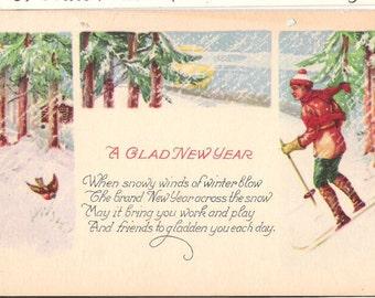 Antique New Year Postcard Skier A Glad New Year  C56