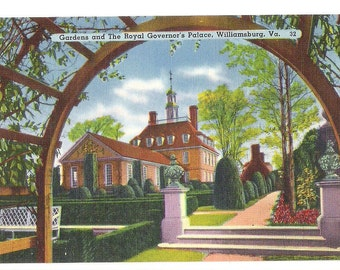 Antique Linen Postcard, Williamsburg VA, Gardens and the Royal Govenor's Palace