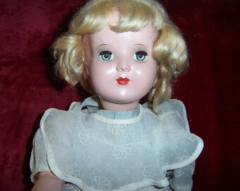 """Vintage Doll WIND UP WALKER Metal And Plastic 18"""" with """"Sophie Original"""" tagged clothing designed by Sophie of Sax Fifth Avenue"""