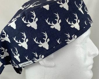 Bouffant Ponytail Combo Scrub Hat Santa on Blue Christmas Print