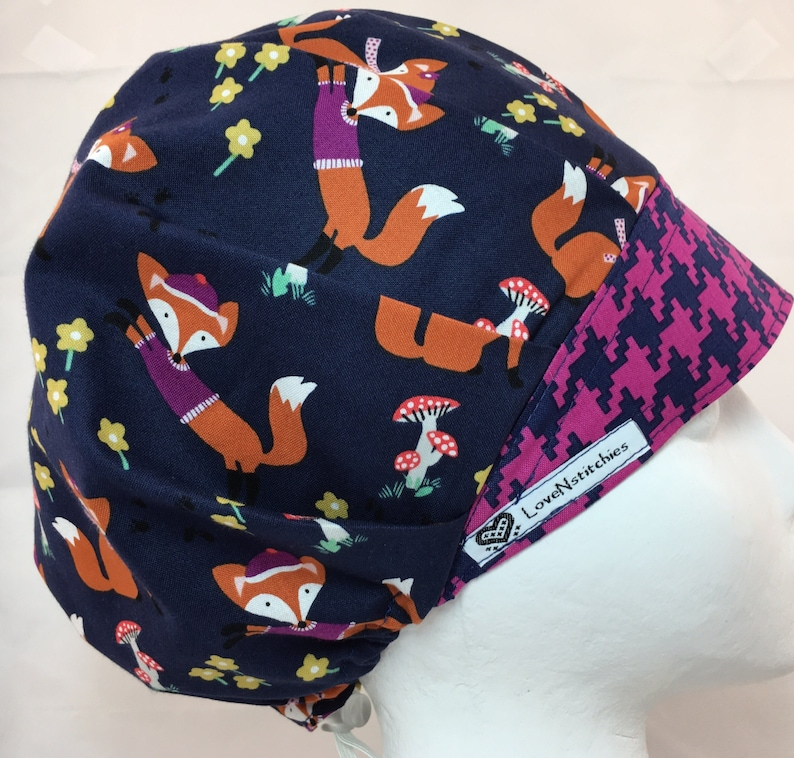5a6fdb3be1cff Fox   the Houndstooth Bouffant Surgical Scrub Hat Surgical