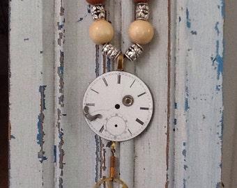 Vintage clockface necklace, #8