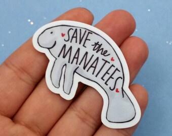 Save the Manatees little vinyl sticker