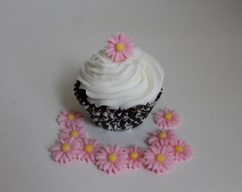 Small Pink Edible Fondant Daisy Cupcake or Cake toppers, 12 pack