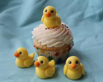 Fondant Rubber Ducky Cupcake or Cake Toppers, 12 pack