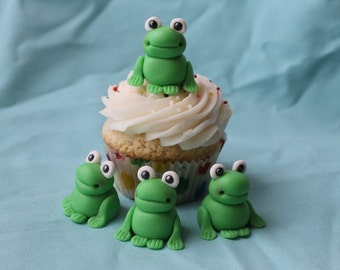 Fondant Green Frog Cupcake or Cake Toppers, 12 pack