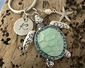 Single Monogram Initial Personalized - Turtle Key ring -Sea Turtle Keychain - beach - blue - turquoise - rhinestone - starfish - pearl