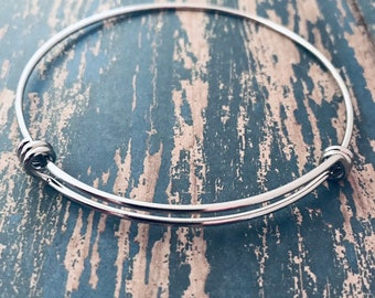 BULK Set of 5 Bangle bracelet expandable smooth 316l silver stainless steel  60mm 65mm 55mm wholesale 2f53995a31695