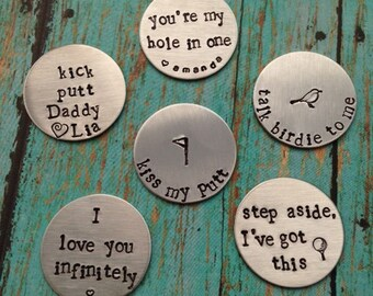 Set of 4 Personalized Magnetic Golf Ball Markers - Golfer Gift - Best Dad Ever - Father's Day - Groomsmen Gifts - Dad - Daddy - Golfing Gift