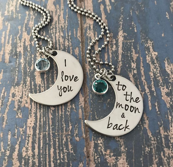 mom/' engraved branded moon pendant necklace UK /'I love you to the moon and back