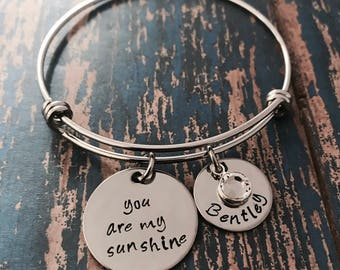 You are my sunshine Personalized Circle and Swarovski Crystal Birthstone Silver Bangle Bracelet - Mom - Mother's Day - Grandma - Engraved